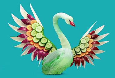 Dan Cretu, yiyeceklerle heykel yapma sanatı, yiyeceklerle şekiller yapma, yiyeceklerle hayvan yapma, yiyecekle ilgili sanat, galeri,