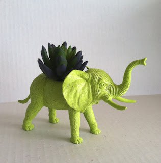 NEON Green Elephant Planter Great Dorm, Nursery, Decor or Baby Shower Gift Ready to Plant