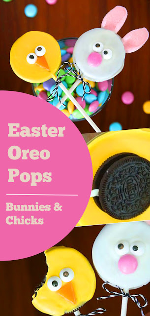 These are so cute! Easter bunny and Easter chick Oreo pops recipe. Easy to make with video tutorials. My kids would love this idea for dessert! #easter #oreo #pops #easterrecipes