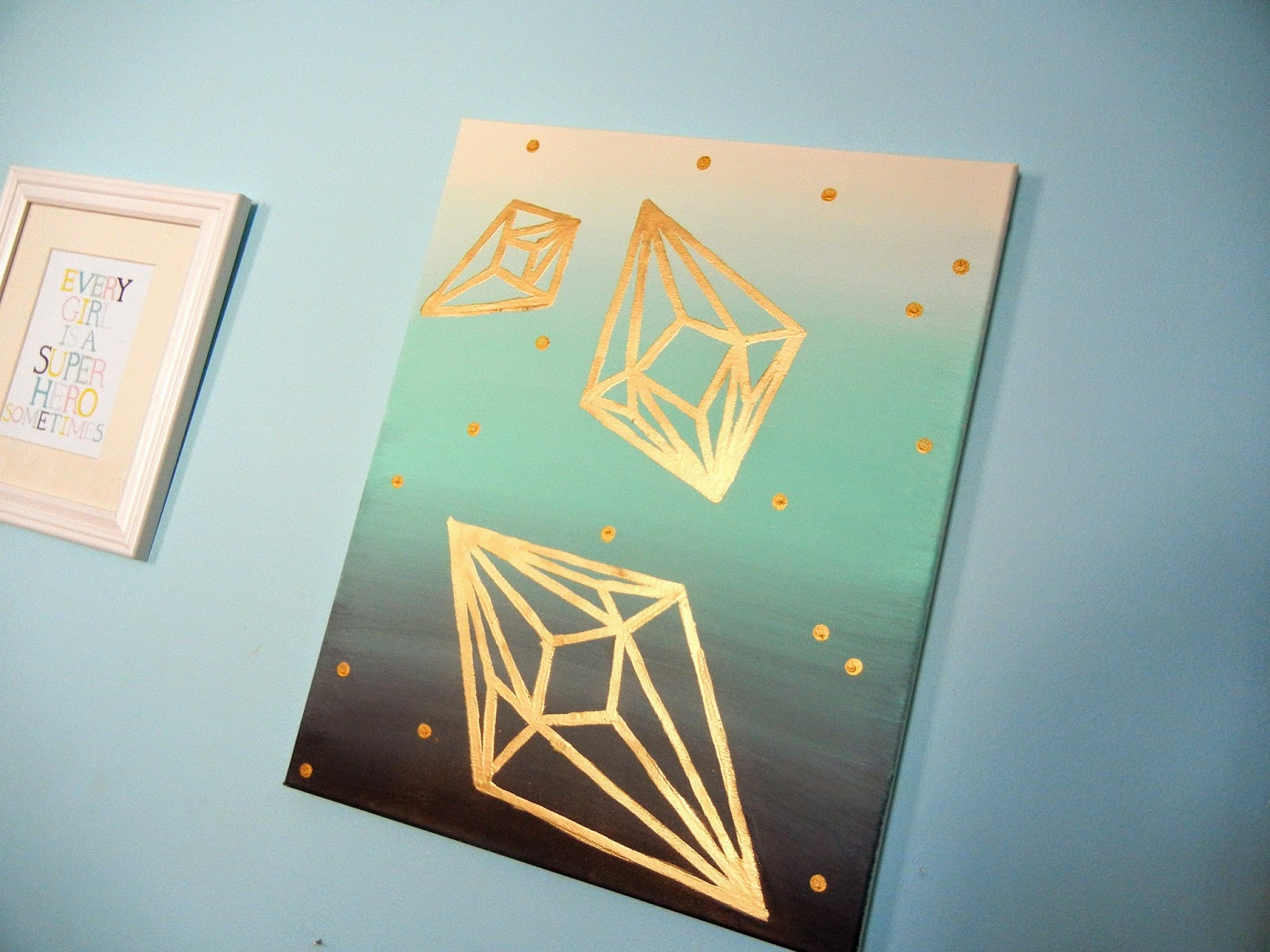 ... I wanted to do some as wall art seeing as some of my walls are pretty bare. I knew I wanted them to be metallic and the background to be a gradient. & NykkeyB: Geometric Diamond Wall Art