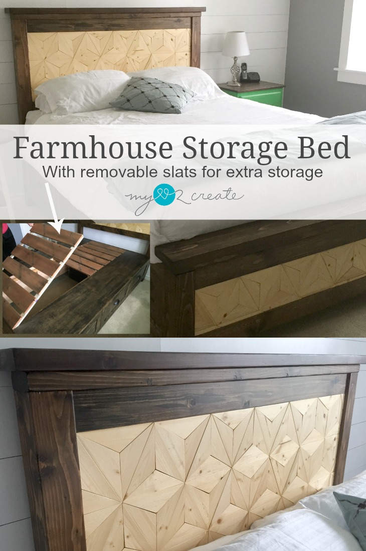 Build Your Own Farmhouse Bed Complete With Geometric Design Inlay And Removable Slats For Extra Storage