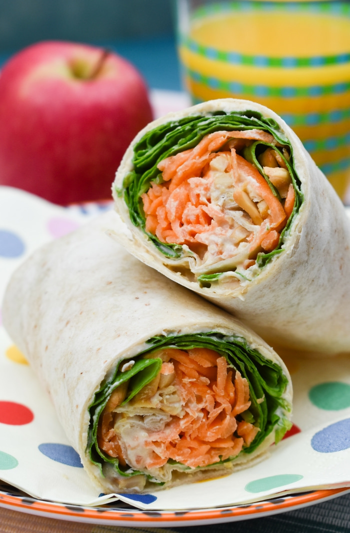 Close up of Carrot and Spinach Crunch Lunch Wrap