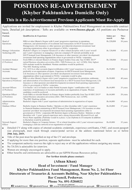 ➨ #Jobs - #Career_Opportunities - #Jobs - Jobs Khyber Pakhtunkhwa (Fund Management)  - Last date 29 July 2019