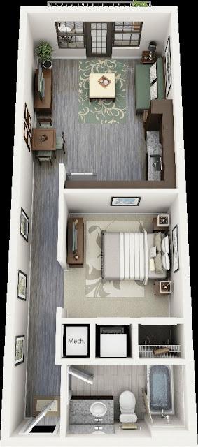 desain rumah minimalis 1 kamar tidur apartemen