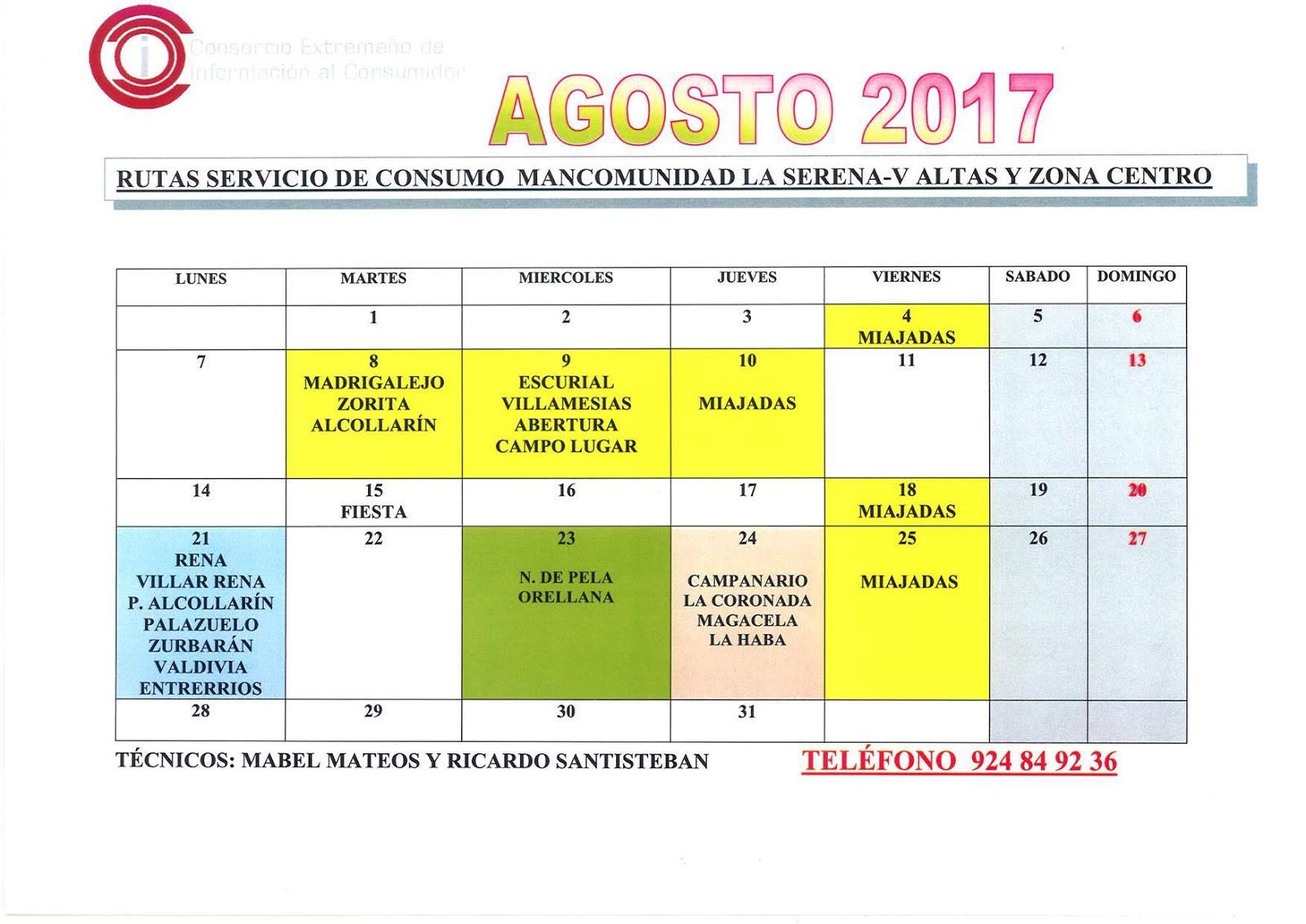 Horario de la oficina de consumo de la mancomunidad zona centro para agosto rtv miajadas - Oficinas de consumo ...