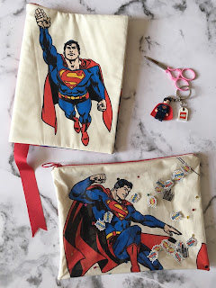 Superman notebook, embroidery scissors with lego Superman key ring and Superman zip pouch