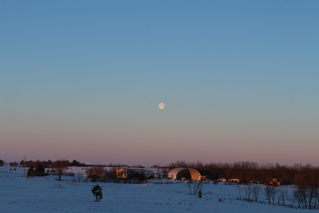 The moon at sunrise