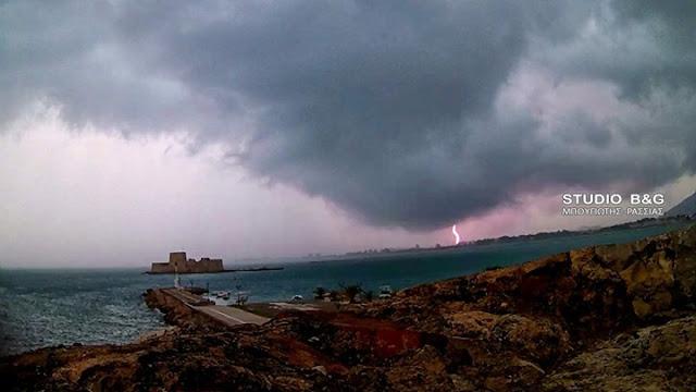 Σφοδρή καταιγίδα στην περιοχή του Ναυπλίου