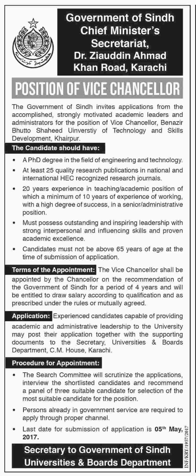 Government of Sindh Chief Minister Secretariat Jobs