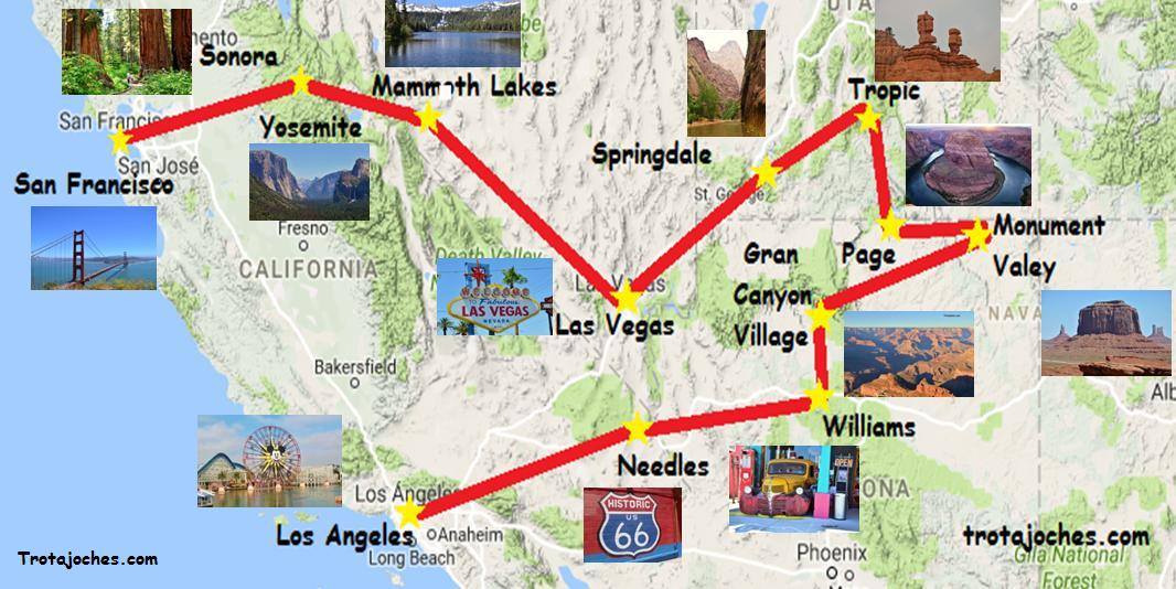Mapa Eeuu Costa Oeste.Guia Para Organizar Un Viaje Por La Costa Oeste De Eeuu Con