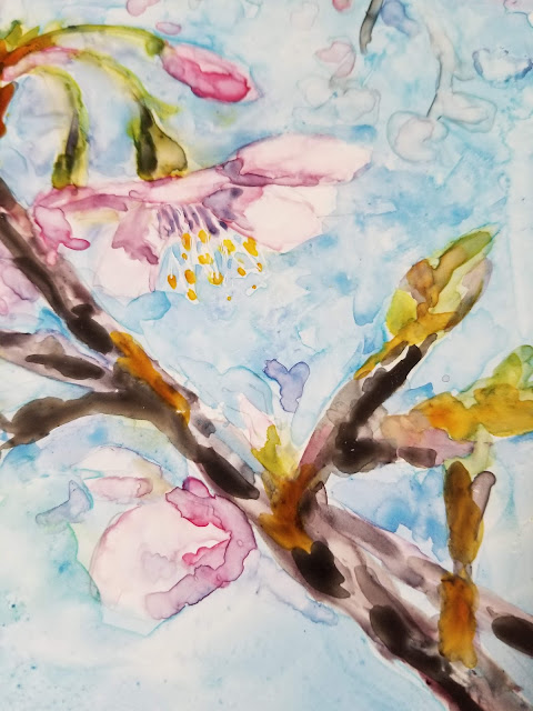 Cherry blossoms watercolor on Yupo paper.