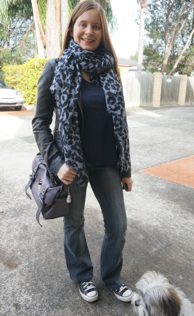 Leopard print scarf, leather jacket, flared jeans and Converse   Away From Blue