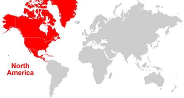 peta letak benua amerika utara