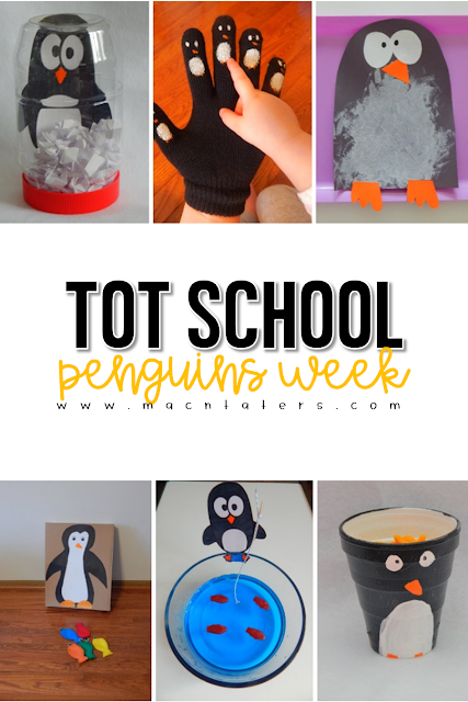 This post is packed full of penguin themed learning activities for toddlers. This weekly tot school curriculum features books, fine motor activities, gross motor activities, kids crafts, snacks and more to help your little learners have fun during play.
