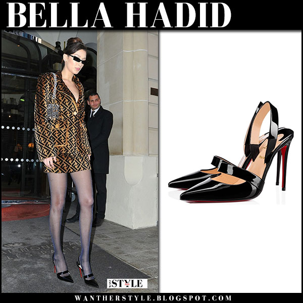 Bella Hadid in brown fendi logo jacket and mini skirt and black slingback pumps christian louboutin actina paris street fashion march 2