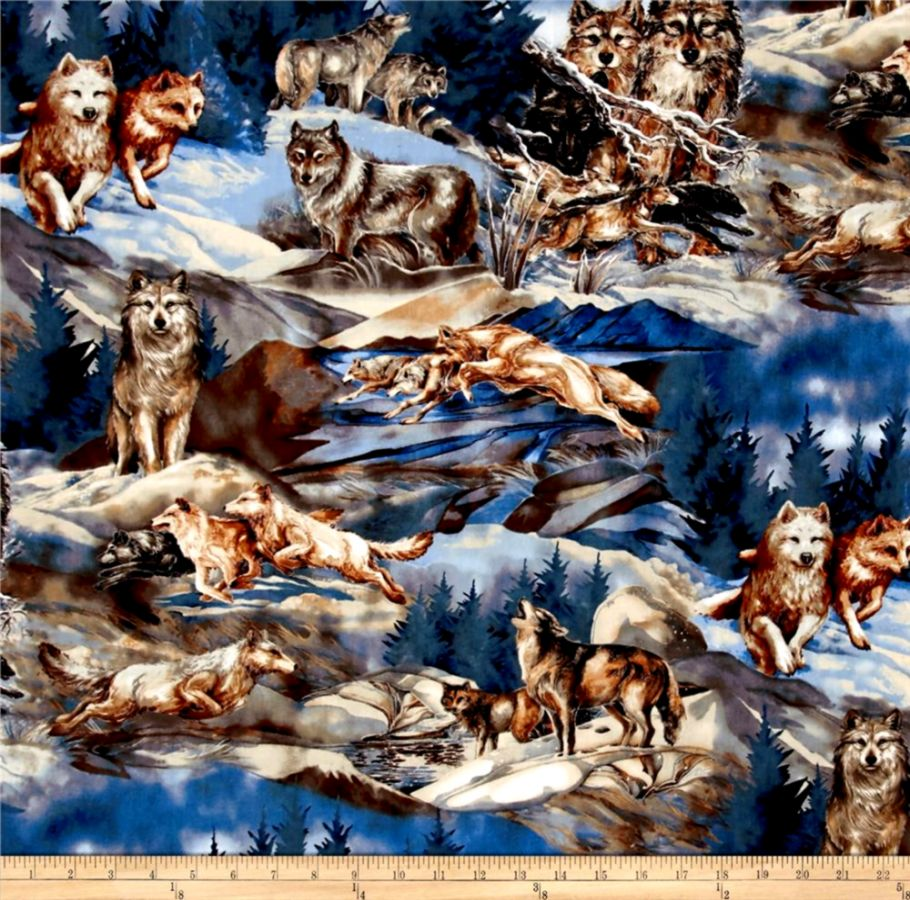 Kaufman North American Wildlife 4 Wolf Collage Nature Discount