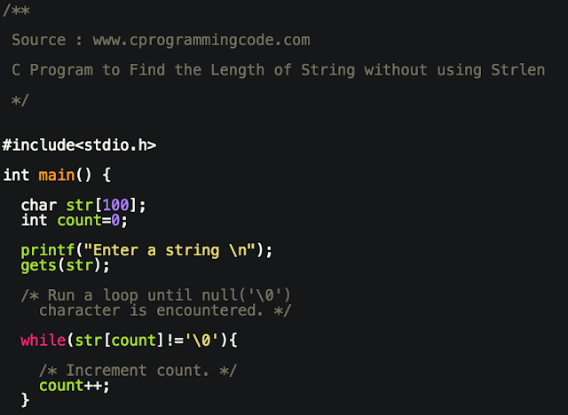 C Program to Find the Length of a String without using Strlen