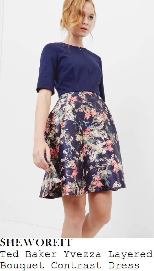 lorraine-kelly-ted-baker-yvezza-navy-blue-coral-cream-and-multicoloured-colour-block-and-layered-floral-bouquet-print-half-sleeve-zip-detail-high-waisted-a-line-dress