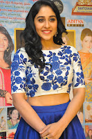 Regina Casandra in Stunning White Embroidery Crop Top Choli and Blue Ghagra at Santosham awards 2017 curtain raiser press meet 02.08.2017 039.JPG