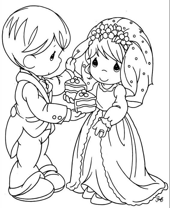 precious moments wedding coloring pages | Precious Moments: Dibujos de Bellas Parejitas de Novios en ...