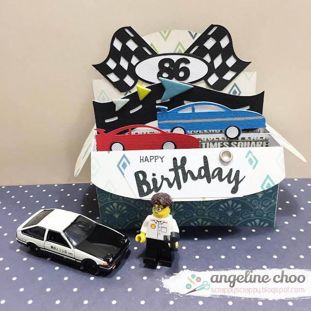 ScrappyScrappy: Race box card #svgattic #scrappyscrappy #boxcard #svg #cutfile #diecut #birthday #racecar #initialD