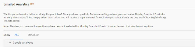Google Analytics dialog for monthly reports
