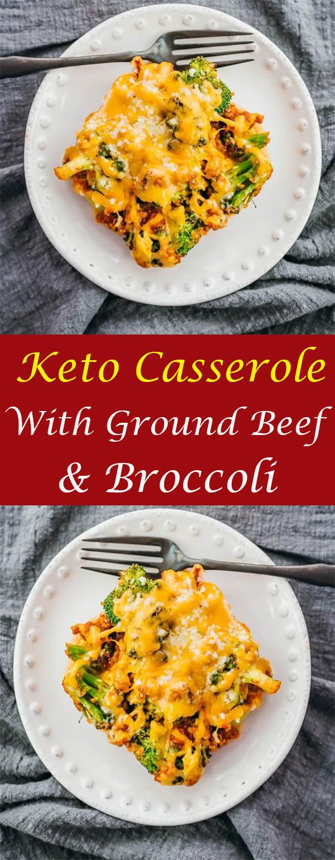 Keto Casserole With Ground Beef & Broccoli