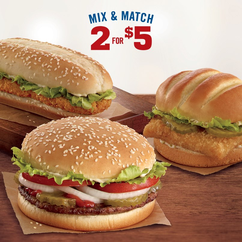 news burger king mix and match two for 5 promo brand eating