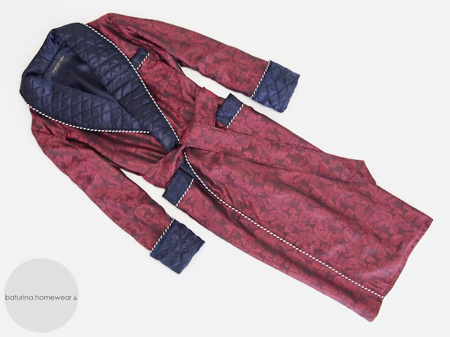 mens long dressing gown paisley silk burgundy quilted warm full length robe gentleman