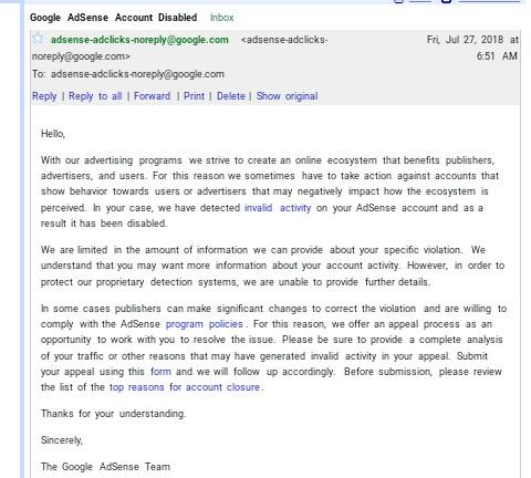 AdSense account disabled