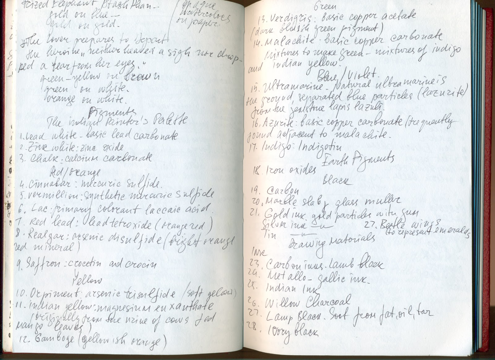 Mirena Rhee - Artist sketchbook. My Red Diary - a list of pigments.