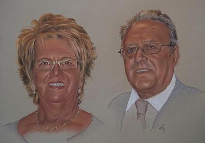 retrato a pastel de una pareja de mediana edad