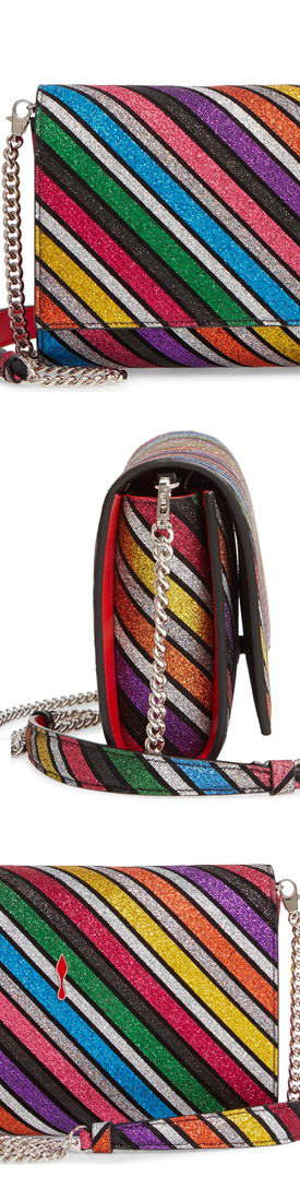 Christian Louboutin Paloma Glitter Rainbow Suede Clutch