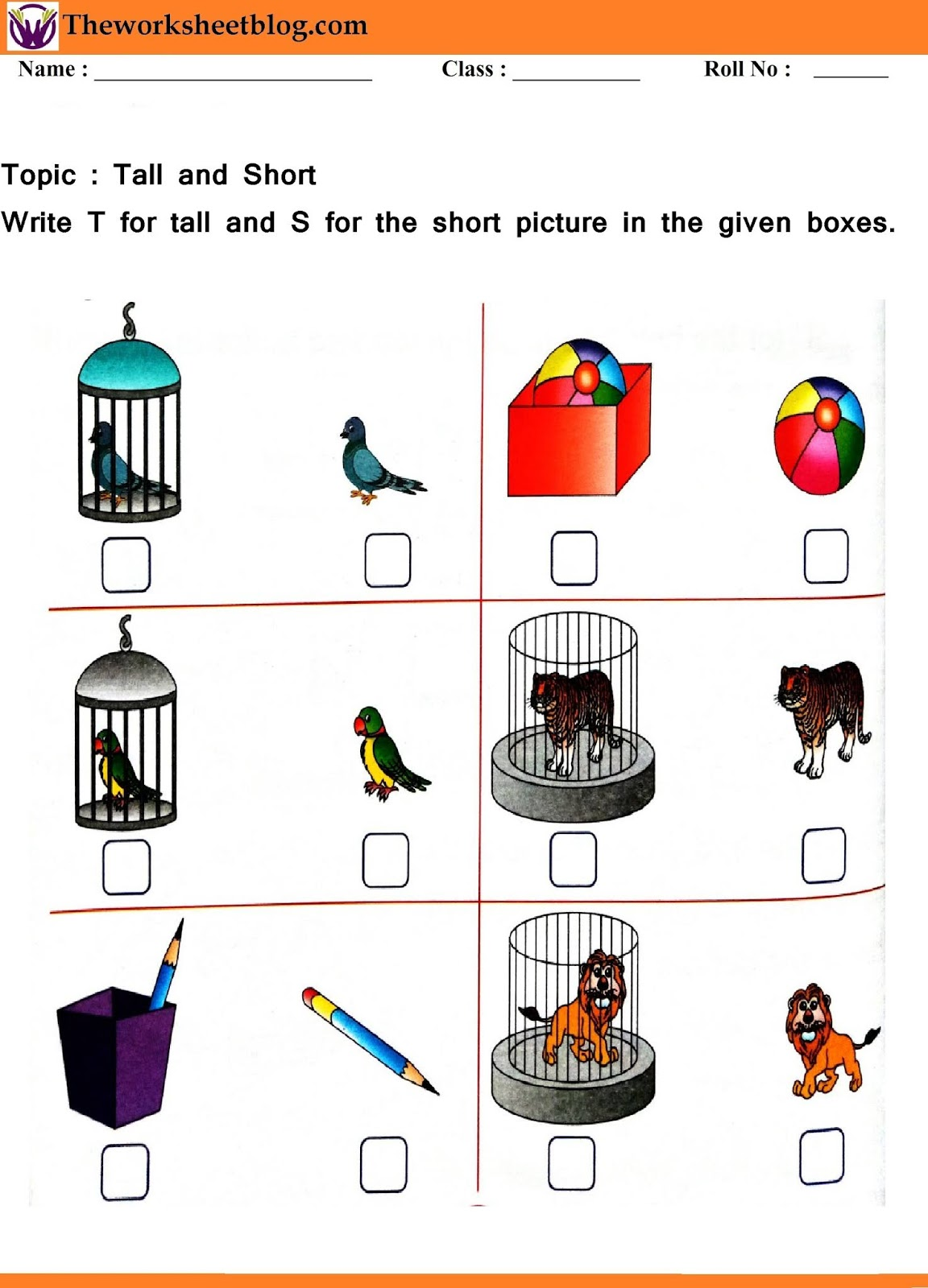 Tall And Short Worksheet For Kindergaten