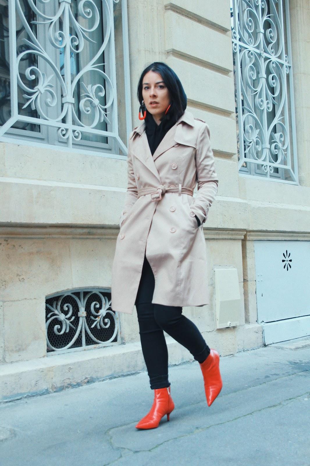 trench tendance 2018 et bottines rouge
