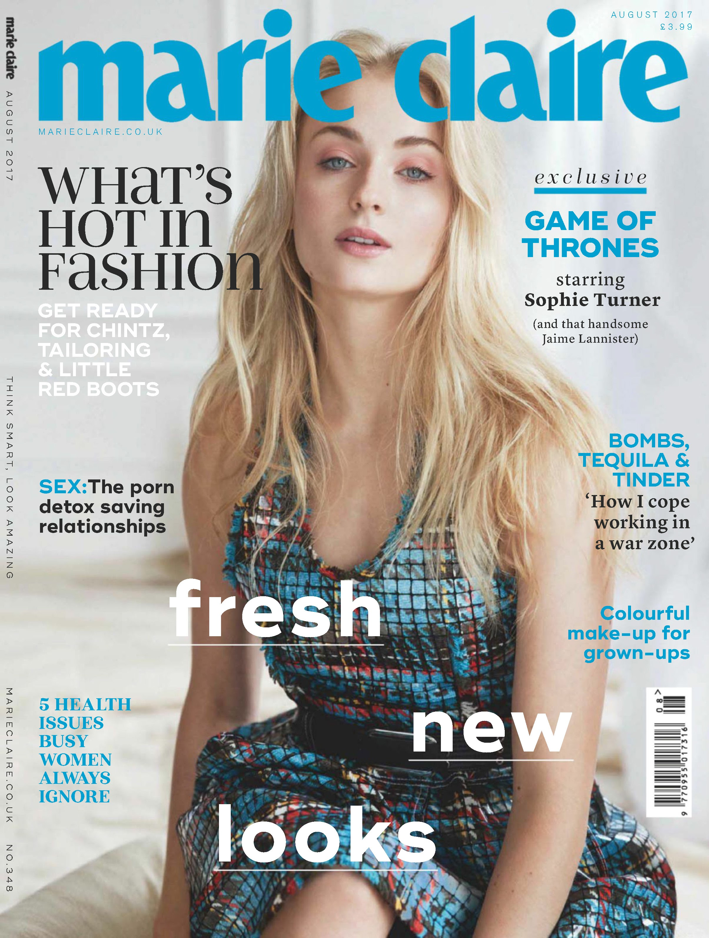 "Sophie Turner on Marie Claire UK: Sophie Turner from ""X-Men""'s latest work ""Dark Phoenix"" appears in the UK version of Marie Claire"