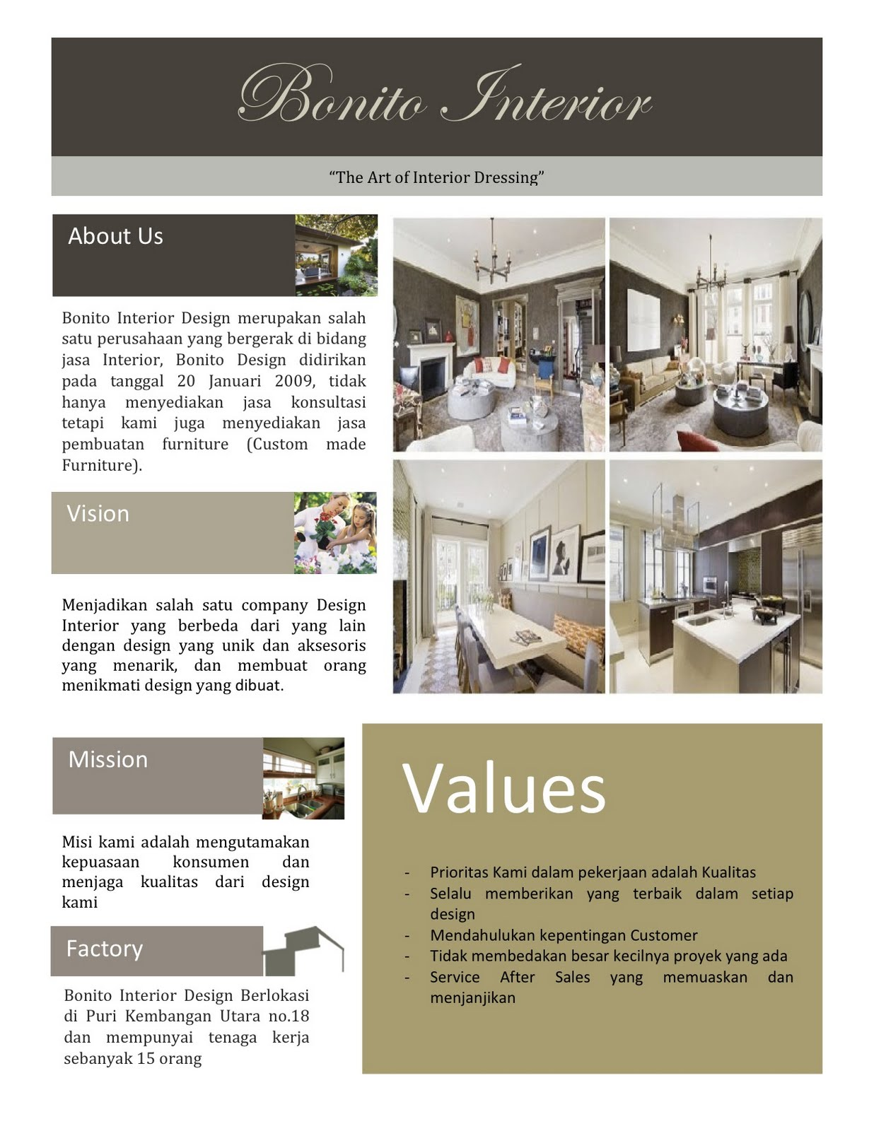 Interior Design Company Profiles Sample