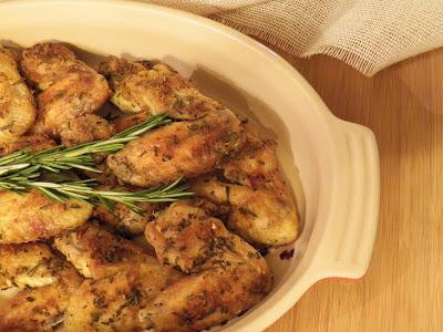 Rosemary Garlic Wings in a platter