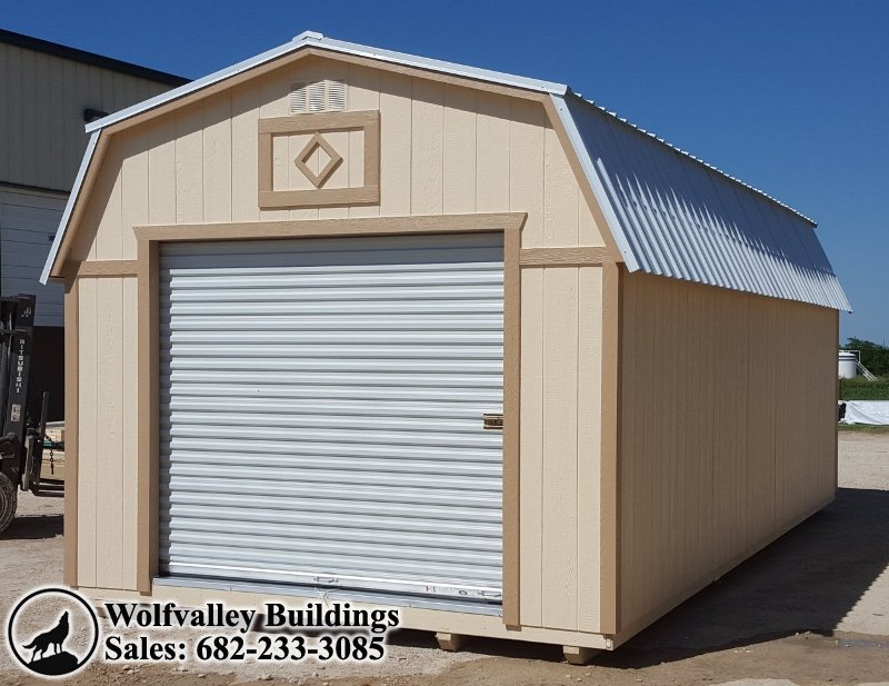 B 12x24 Lofted Garage Storage Shed