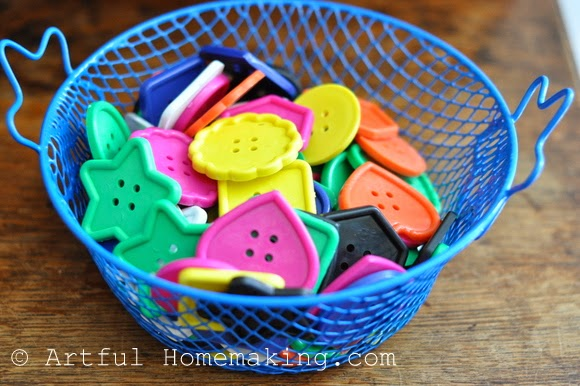 Fine Motor Coordination: Keeping Little Ones Hands Busy. basket of large buttons