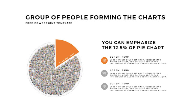 Free PowerPoint Template with Group of People Forming The Pie Chart for Emphasize 12.5 % Business Area with White Backgrounbd