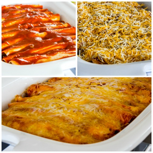 Low-Carb Slow Cooker Sour Cream Chicken Enchiladas found on KalynsKitchen.com