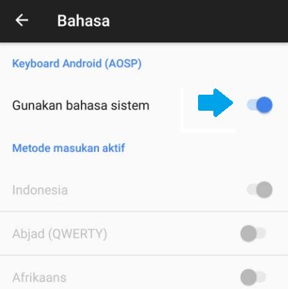 Bahasa sistem keyboard