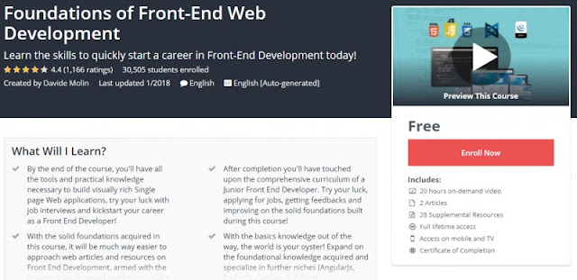 [100% Free] Foundations of Front-End Web Development (20Hrs Of Content)