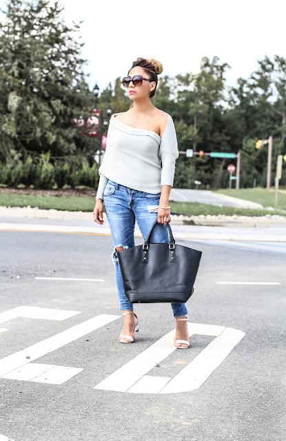 Asymmetrical gray sweater
