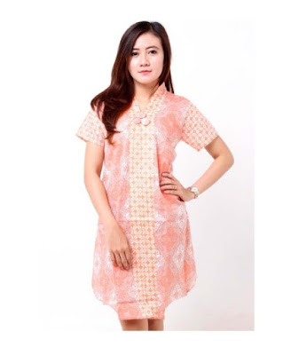 Model Dress Batik Kombinasi Brokat modern