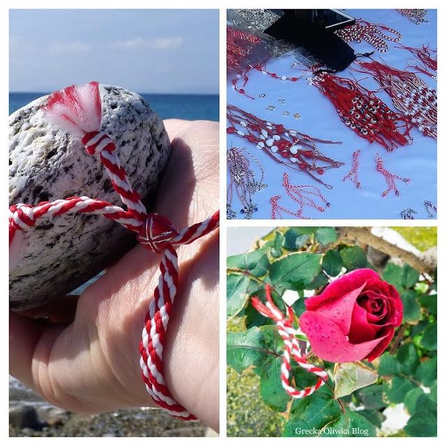 Na nagarstku biało-czerwona plecionka w tle greckie morze, czerwona róża
