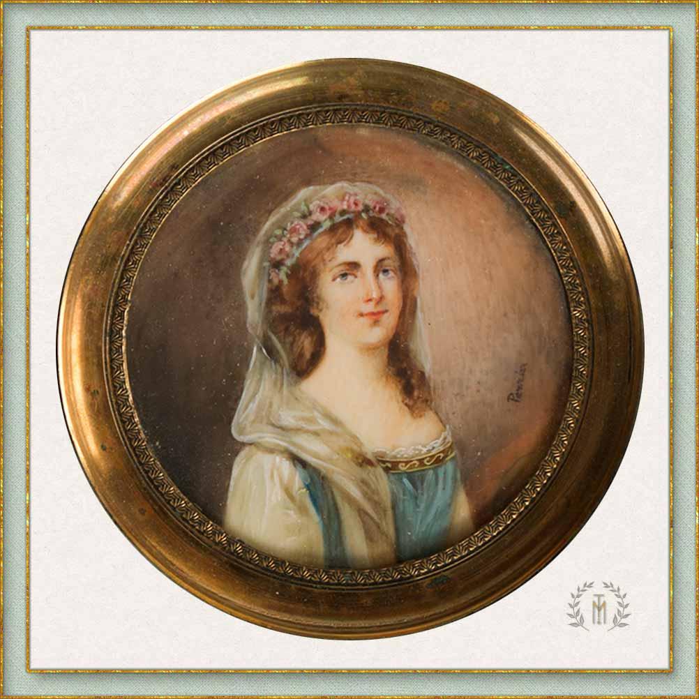 Marina Torres Antigüedades: Miniatura retrato de una dama - s. XIX