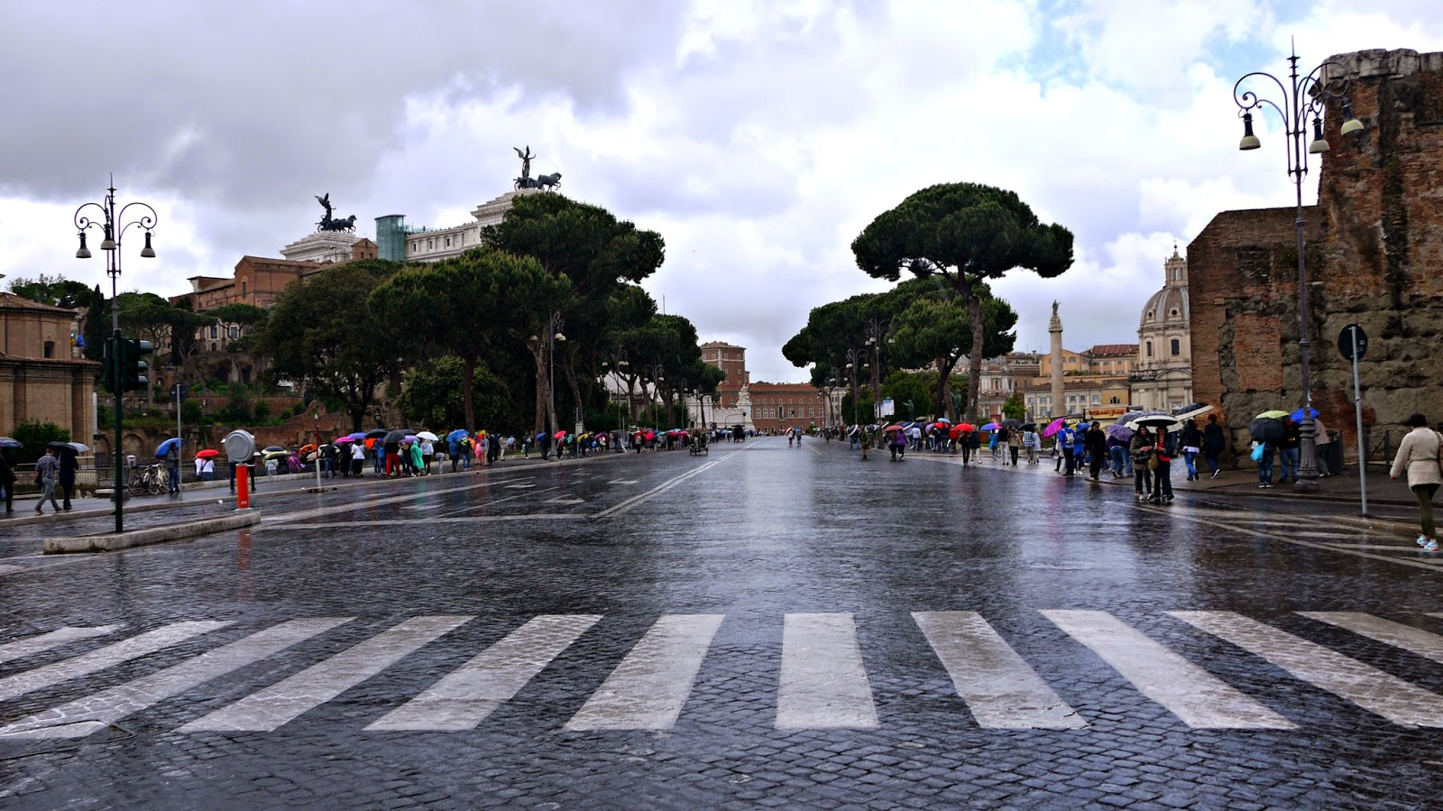 Wet street in Rome after the rain
