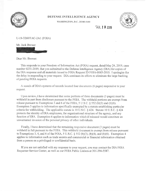 DIA Response To Brewer FOIA Request Re AAWSAP and Baass Contract (Pg 1) 7-19-19